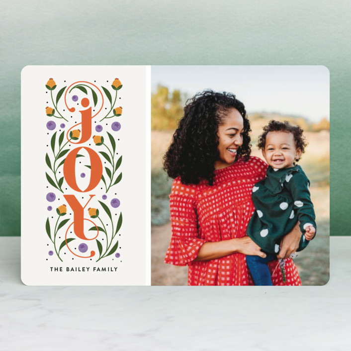 """""""Floral Joy"""" - Holiday Photo Cards in Pumpkin by Joanne James."""
