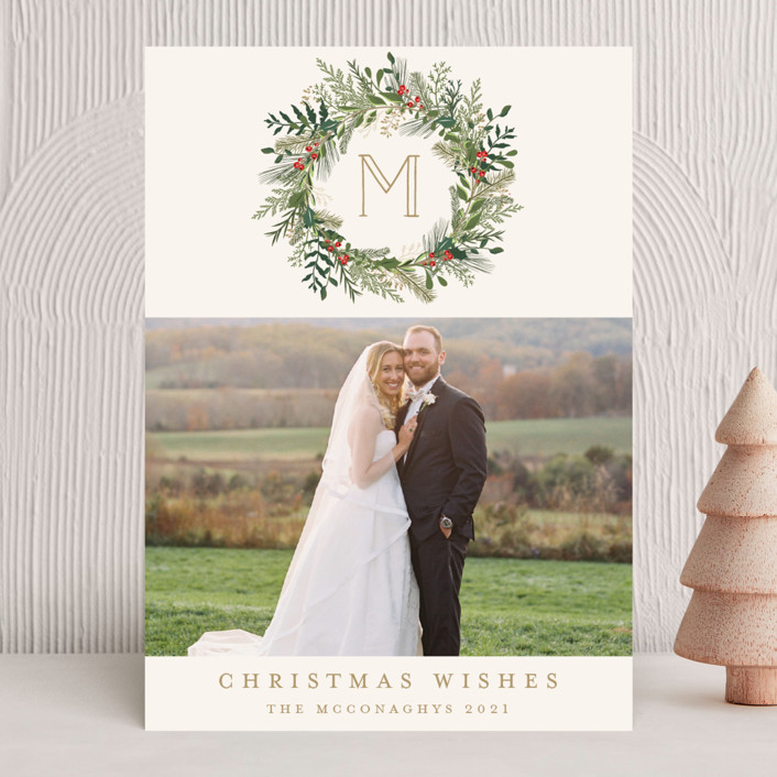 """""""Greenery Wreath"""" - Holiday Photo Cards in Night by Susan Moyal."""