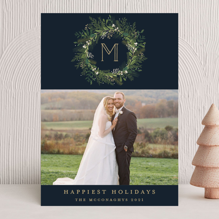 """""""Greenery Wreath"""" - Holiday Photo Cards in Twilight by Susan Moyal."""