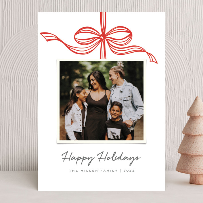 """Tied with a bow"" - Holiday Photo Cards in Crimson by SimpleTe Design."