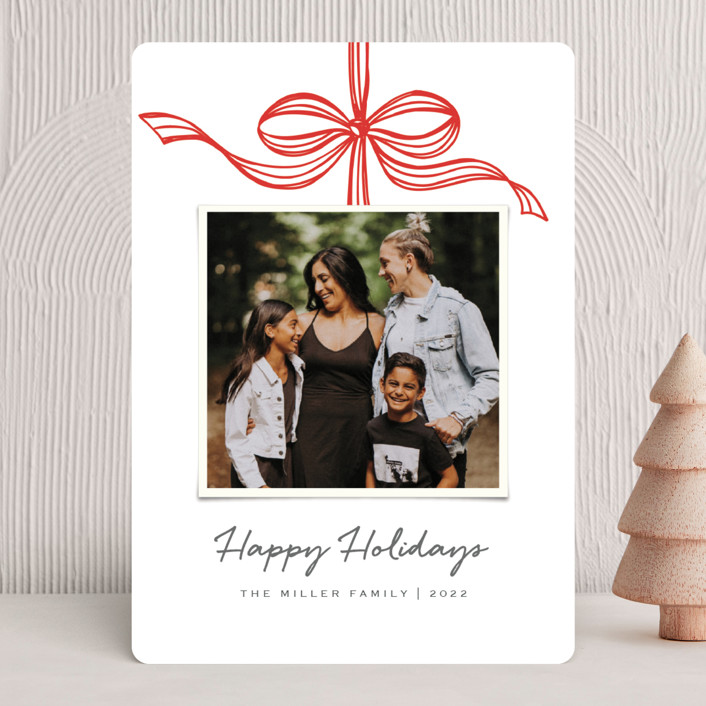"""""""Tied with a bow"""" - Holiday Photo Cards in Crimson by SimpleTe Design."""