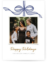 This is a blue holiday photo card by SimpleTe Design called Tied with a bow with standard printing on smooth signature in standard.