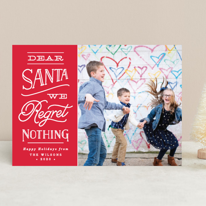 """No Regrets"" - Funny Holiday Photo Cards in Holly by Olivia Raufman."