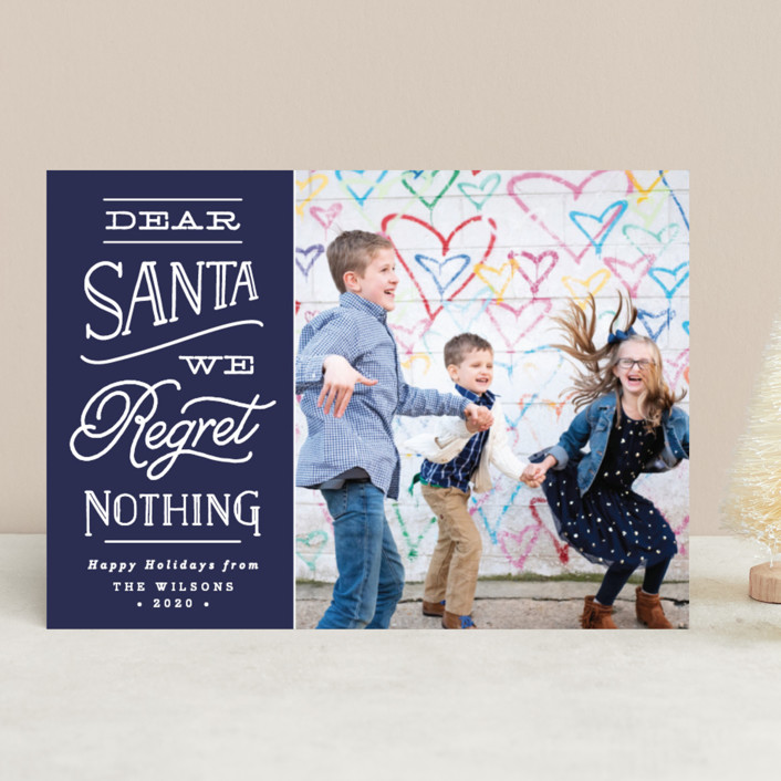 """""""No Regrets"""" - Funny Holiday Photo Cards in Holly by Olivia Raufman."""