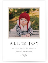 This is a white holiday photo card by Kelly Schmidt called All the Joy of the Season with standard printing on smooth signature in standard.