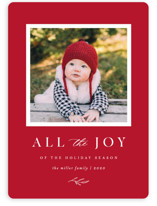 This is a red holiday photo card by Kelly Schmidt called All the Joy of the Season with standard printing on smooth signature in standard.