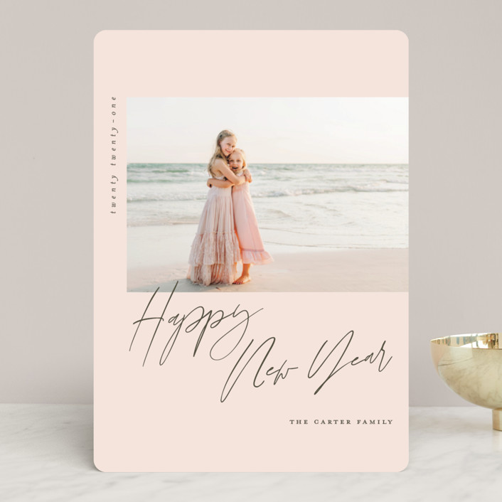 """script holiday"" - Holiday Photo Cards in Blush by Carolyn Nicks."