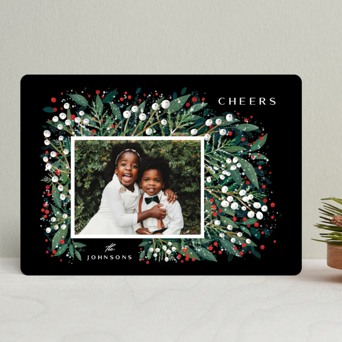 """First Flakes"" - Holiday Photo Cards in Berry by Ana Sharpe."
