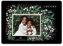 This is a red holiday photo card by Ana Sharpe called First Flakes with standard printing on smooth signature in standard.