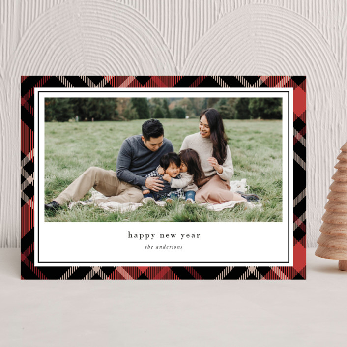 """Joyful Plaid"" - Vintage Holiday Photo Cards in Scarlet by That Girl Press."