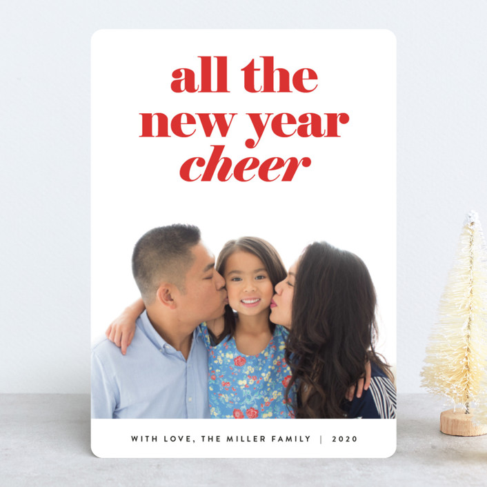"""all the happy"" - Holiday Photo Cards in Cranberry by JoAnn Jinks."