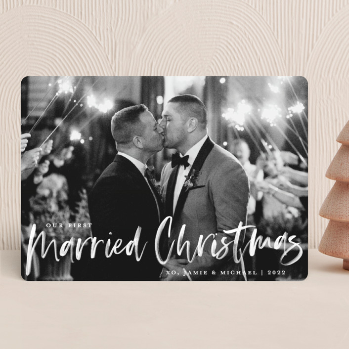 """Our First Married Christmas"" - Holiday Photo Cards in Snow by Paper Dahlia."