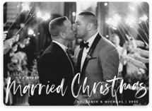 This is a white holiday photo card by Paper Dahlia called Our First Married Christmas with standard printing on smooth signature in standard.