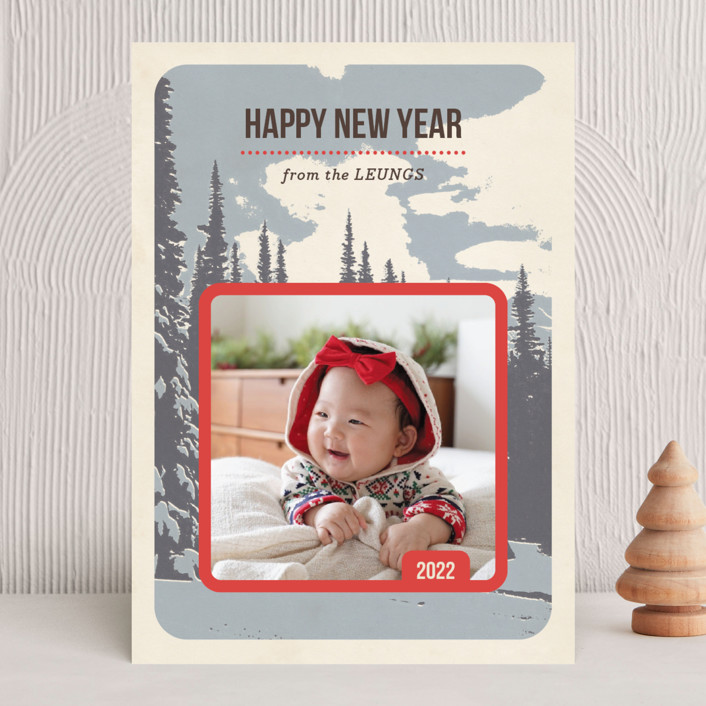 """Pine Mountain"" - Vintage Holiday Photo Cards in Alpine by Alex Elko Design."