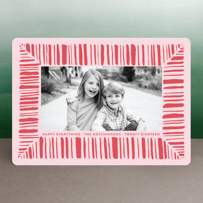 """Peppermint Cheer"" - Holiday Photo Cards in Berry by Lagniappe Paper."