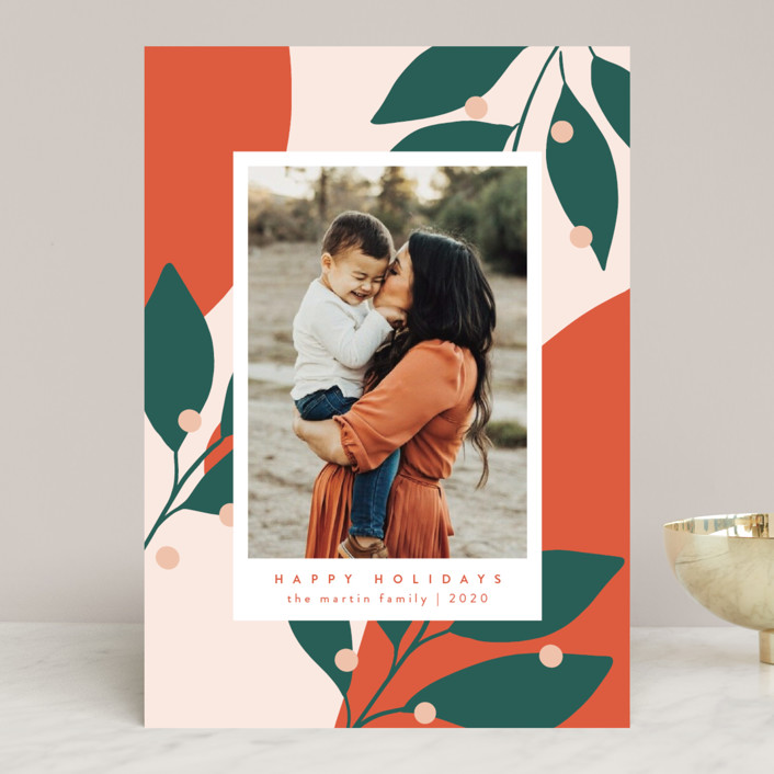 """""""Bold and Bright"""" - Modern Holiday Photo Cards in Mandarin by Kelly Schmidt."""