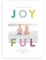 This is a blue holiday photo card by Lisa Cersovsky called Joyfully Transparent with standard printing on smooth signature in standard.