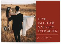 This is a red holiday photo card by Lindsay Megahed called Merrily After with standard printing on doublethick in standard.