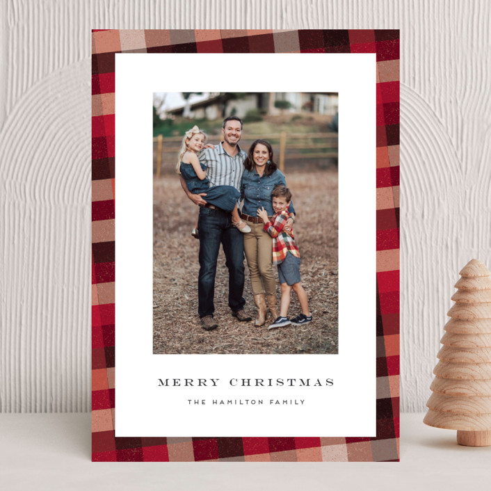 """""""Flannel"""" - Vintage Holiday Photo Cards in Cranberry by Amy Payne."""