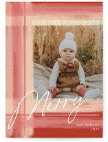 This is a orange holiday photo card by Jennifer Lew called Tartan with standard printing on signature in standard.