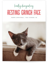 This is a white holiday photo card by Erica Krystek called Grinch Face with standard printing on signature in standard.