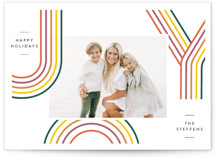This is a yellow holiday photo card by Laura Bercovich called Rainbow Tidings with standard printing on signature in standard.