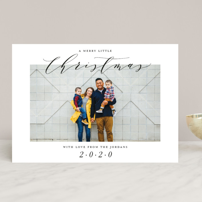 """""""A Merry Little Christmas"""" - Holiday Photo Cards in Linen by Park House Paperie."""