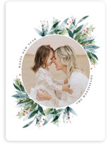 This is a green holiday photo card by Jackie Crawford called Watercolor Painted Wreath with standard printing on smooth signature in standard.