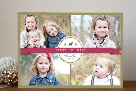 Green Ribbon Holiday Photo Cards
