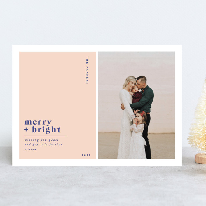 """Nouveau"" - Holiday Photo Cards in Blush by Nazia Hyder."