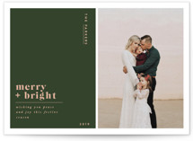 This is a green holiday photo card by Nazia Hyder called Nouveau with standard printing on smooth signature in standard.