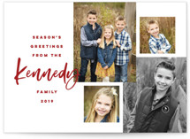 This is a red holiday photo card by Pink House Press called Our Family Photos with standard printing on smooth signature in standard.