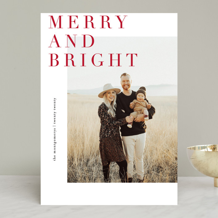 """Editorially"" - Holiday Photo Cards in Berry by Julie Murray."