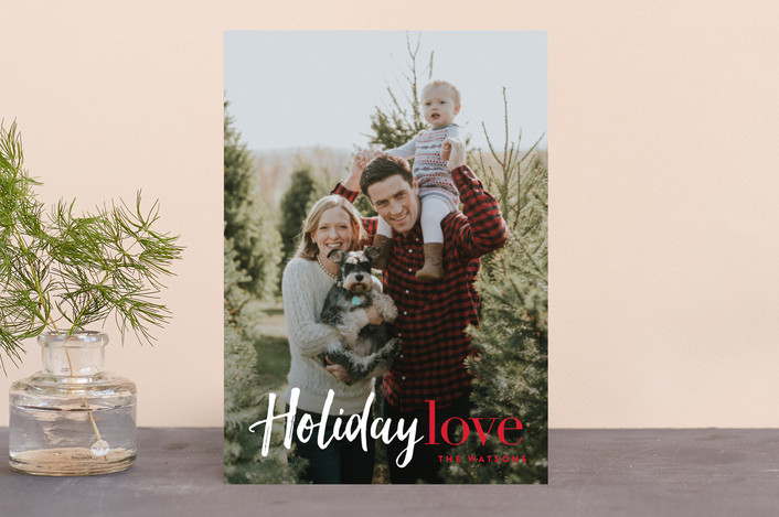 """""""Filled with Holiday Love"""" - Holiday Photo Cards in Berry by Carrie ONeal."""