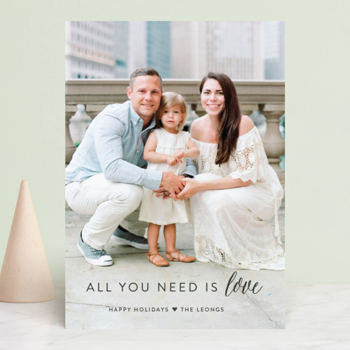 """All You Need is Love"" - Holiday Photo Cards in Snow by Sarah Curry."