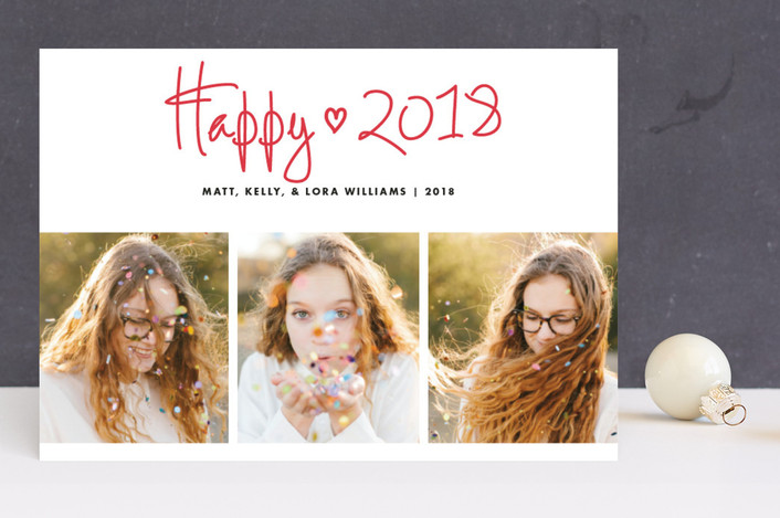 """""""Funky Quartet"""" - Holiday Photo Cards in Cherry by Paper Dahlia."""