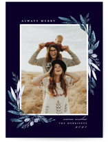 This is a blue holiday photo card by Petra Kern called Evergreena with standard printing on smooth signature in standard.