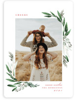 This is a green holiday photo card by Petra Kern called Evergreena with standard printing on smooth signature in standard.