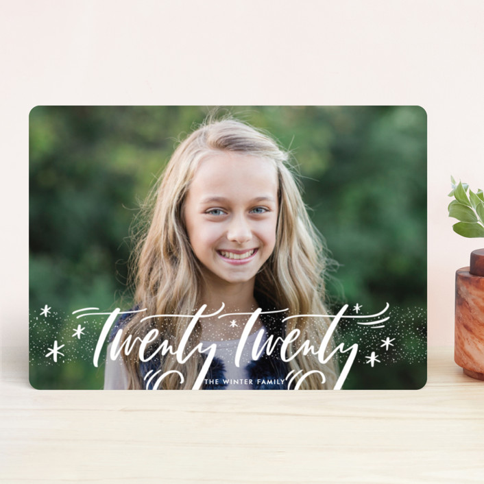 """""""Everything Script"""" - Bohemian Holiday Photo Cards in Snow by Julie Murray."""