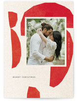 This is a red holiday photo card by Sumak Studio called abstraction with standard printing on signature in standard.