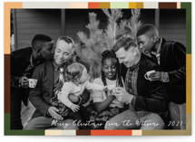 This is a colorful holiday photo card by Claire called Plaidish frame with standard printing on triplethick in standard.