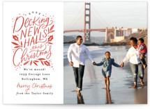 This is a red holiday photo card by Alethea and Ruth called Decking New Halls with standard printing on signature in standard.