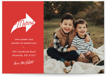 This is a red holiday photo card by Sara Hicks Malone called merry this way with standard printing on triplethick in standard.