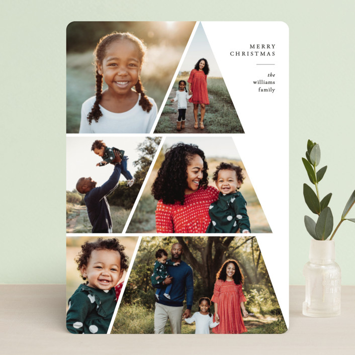 """Family Tree"" - Holiday Photo Cards in Linen by Jennifer Lew."