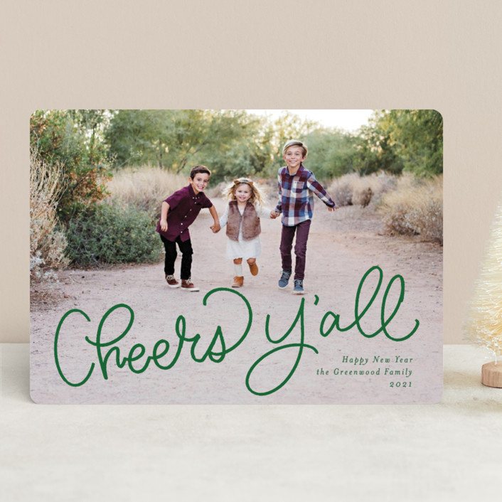 """Ho Ho Howdy"" - Funny Holiday Photo Cards in Emerald by Amy Payne."