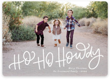 This is a white holiday photo card by Amy Payne called Ho Ho Howdy with standard printing on smooth signature in standard.