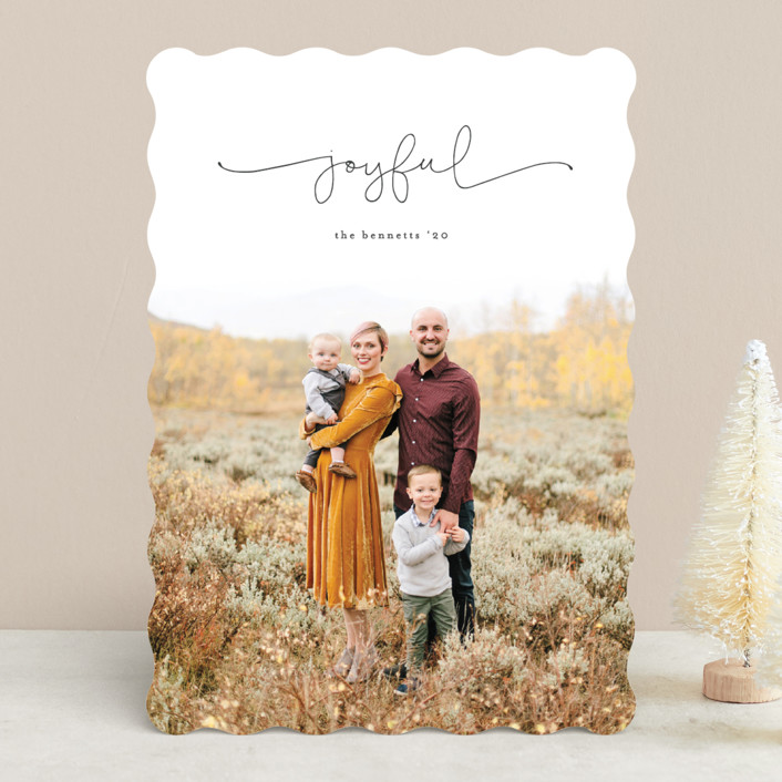 """""""Simply Scripted"""" - Holiday Photo Cards in Charcoal by Erica Krystek."""
