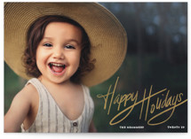 This is a yellow holiday photo card by Kaydi Bishop called Happily Scripted with standard printing on smooth signature in standard.
