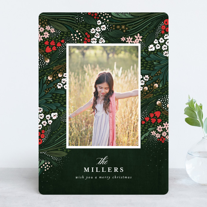 """""""Holiday Garden"""" - Holiday Photo Cards in Deep Evergreen by Angela Marzuki."""
