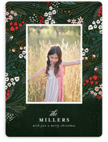 This is a green holiday photo card by Angela Marzuki called Holiday Garden with standard printing on smooth signature in standard.